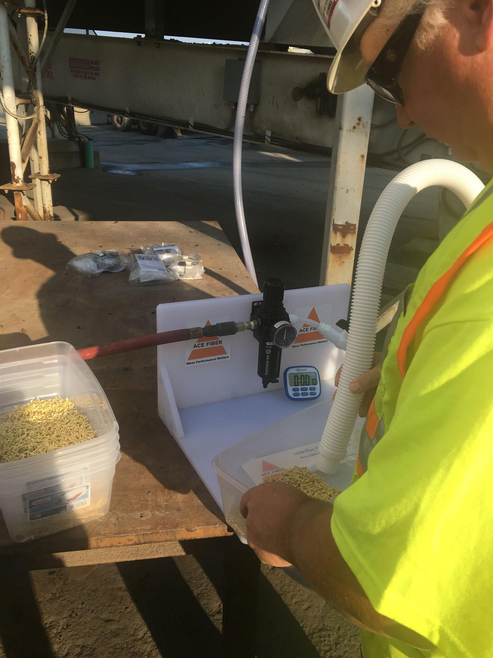 Dosing at Plant  Asphalt ACE XP Polymer Fiber